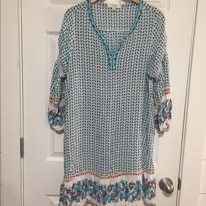 Umgee dress blue/green paisley long sleeves